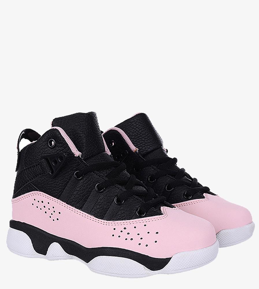 Czarne buty sportowe sznurowane Casu 201D/PB  kolor czarny, różowy