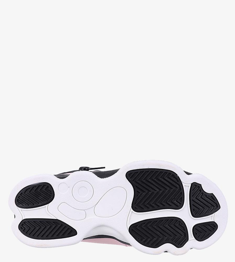 Czarne buty sportowe sznurowane Casu 201D/PB  wnetrze materiał