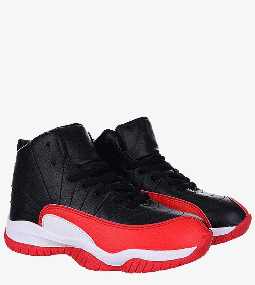 Czarne buty sportowe sznurowane Casu 201H/BR kolor czarny, czerwony