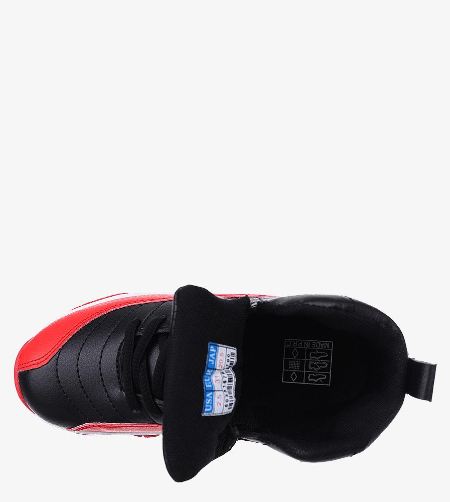Czarne buty sportowe sznurowane Casu 201H/BR wkladka materiał