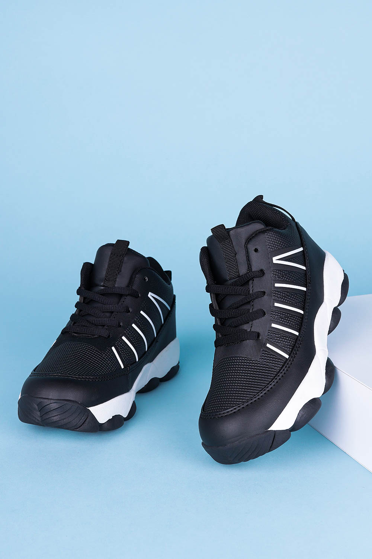 Czarne buty sportowe sznurowane Casu 201I/BW czarny