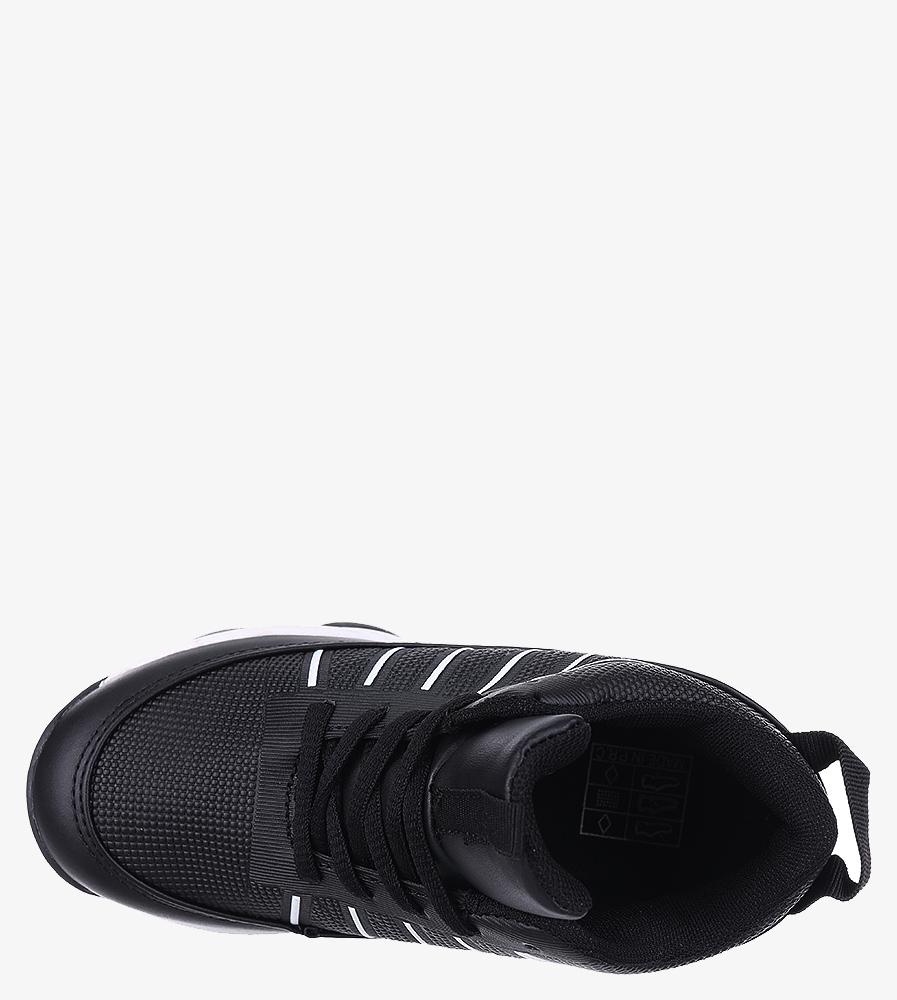 Czarne buty sportowe sznurowane Casu 201I/BW wysokosc_platformy 2 cm