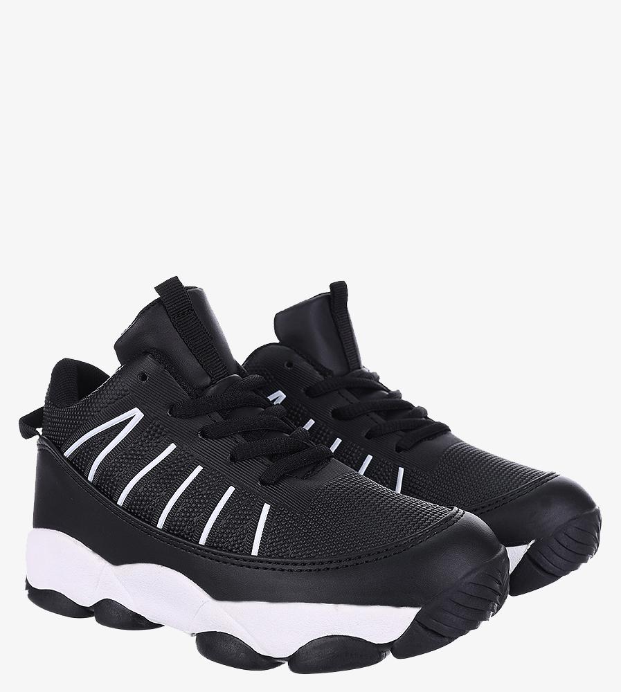 Czarne buty sportowe sznurowane Casu 201I/BW wys_calkowita_buta 12 cm