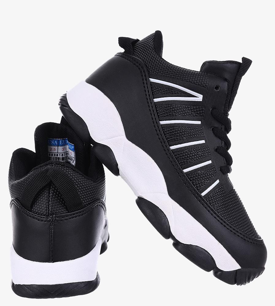 Czarne buty sportowe sznurowane Casu 201I/BW wierzch skóra ekologiczna