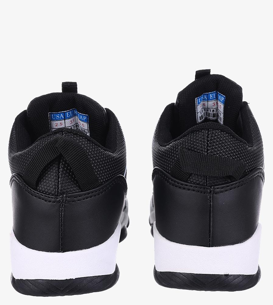 Czarne buty sportowe sznurowane Casu 201I/BW wnetrze materiał