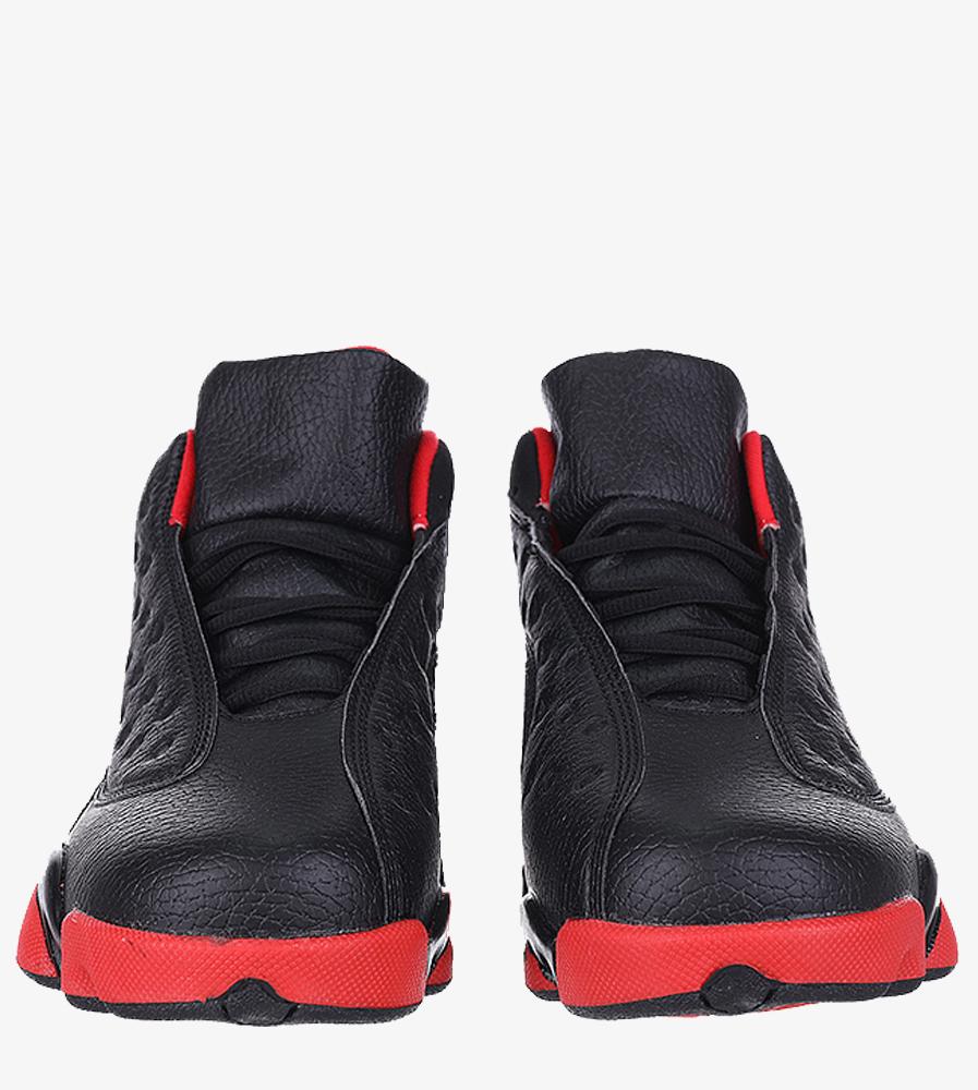 Czarne buty sportowe sznurowane Casu 201J/BR6  kolor czarny, czerwony