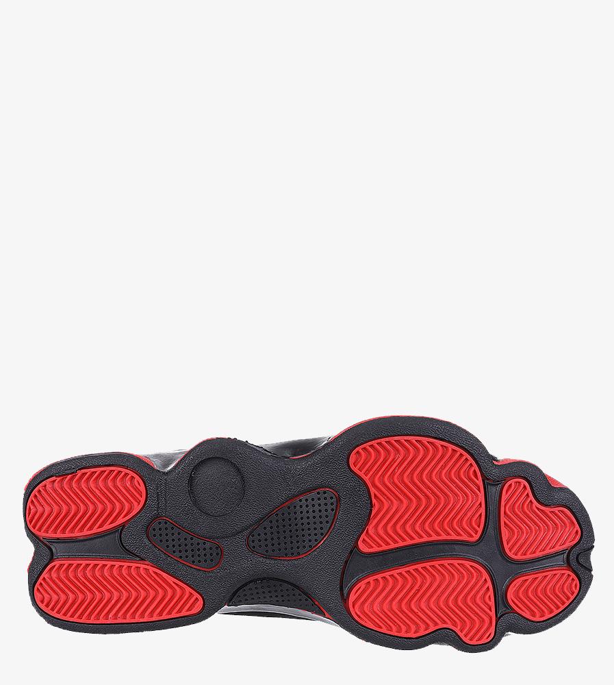 Czarne buty sportowe sznurowane Casu 201J/BR6  wierzch skóra ekologiczna