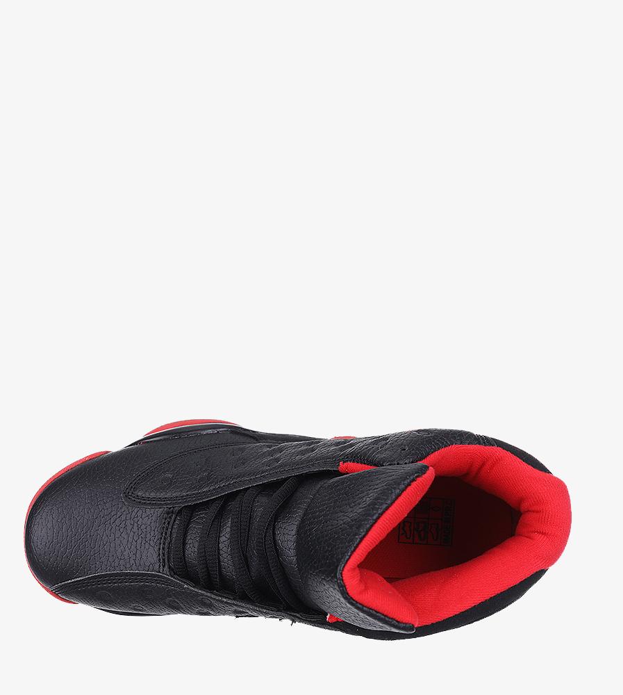 Czarne buty sportowe sznurowane Casu 201J/BR6  wnetrze materiał
