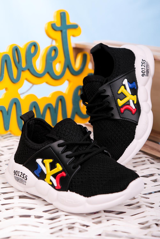 Czarne buty sportowe sznurowane Casu 204/23M  czarny