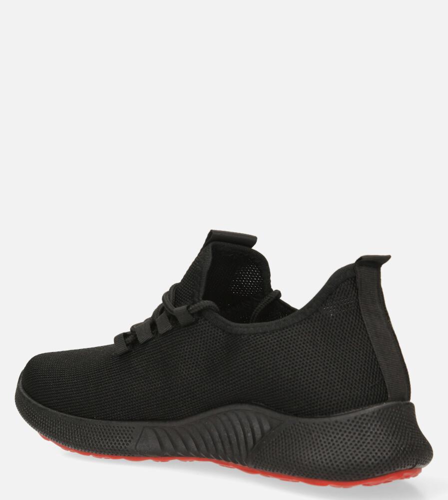 Czarne buty sportowe sznurowane Casu 204/45B+R kolor czarny, czerwony