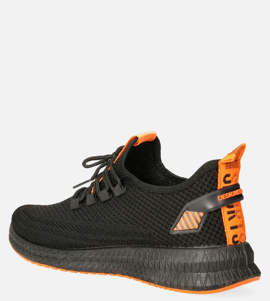 Czarne buty sportowe sznurowane Casu 20A12/B kolor czarny, pomarańczowy