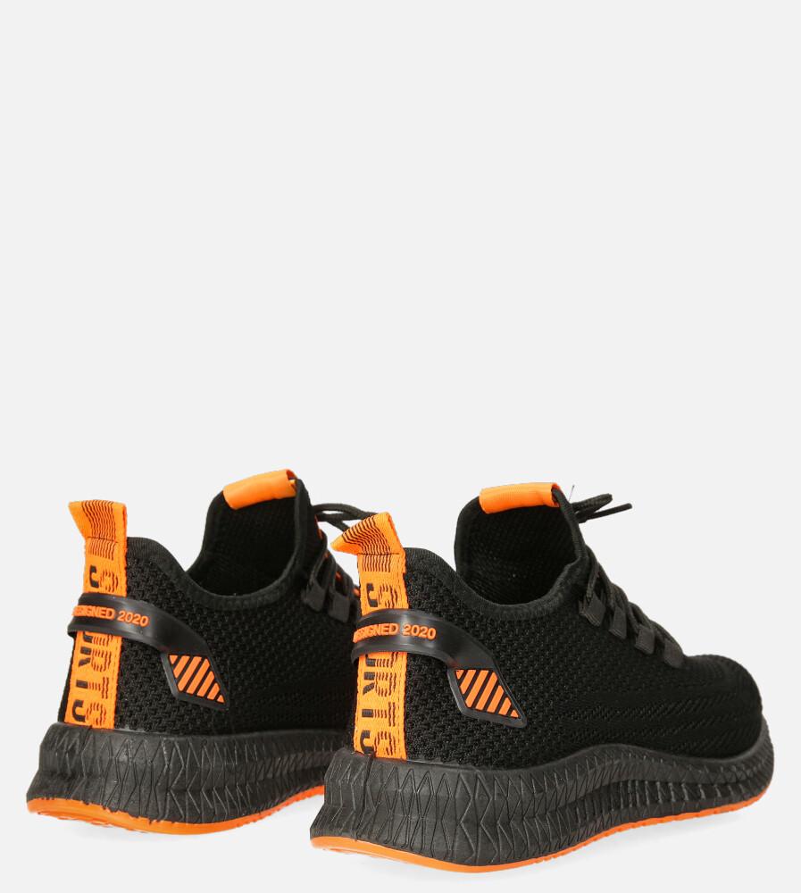 Czarne buty sportowe sznurowane Casu 20A12/B wysokosc_obcasa 3.5 cm