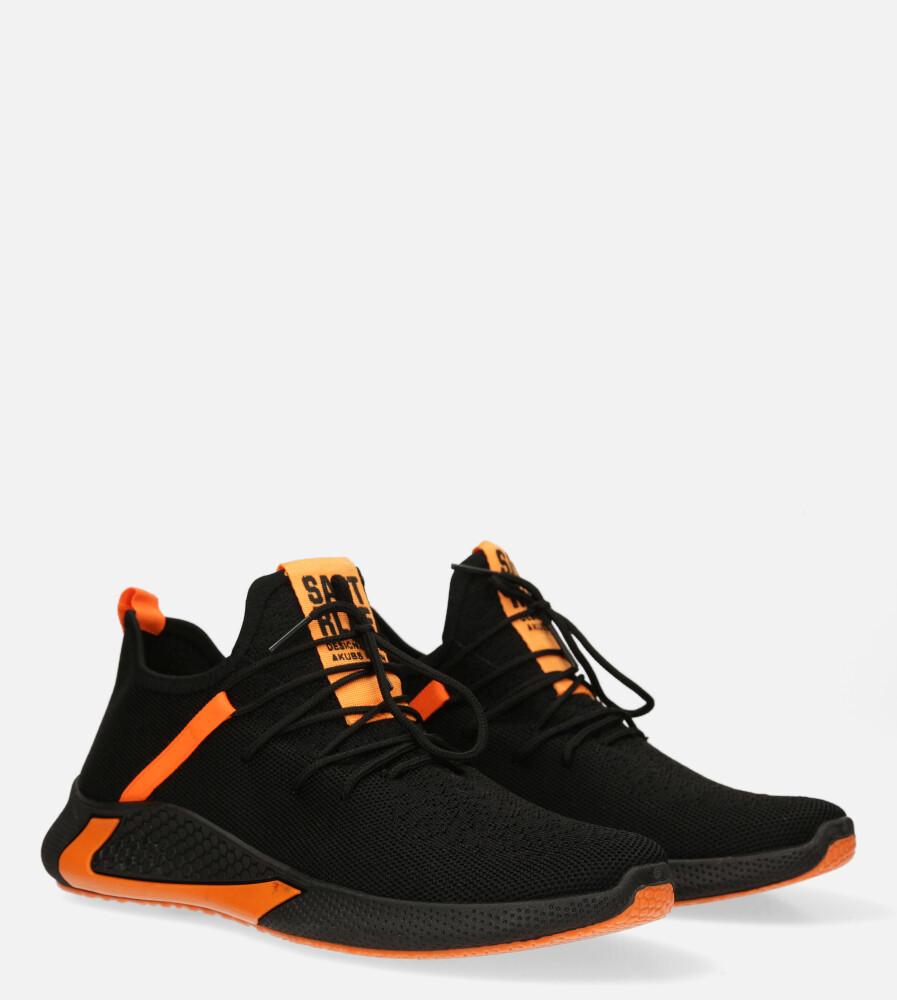 Czarne buty sportowe sznurowane Casu 20A8/O  kolor czarny, pomarańczowy