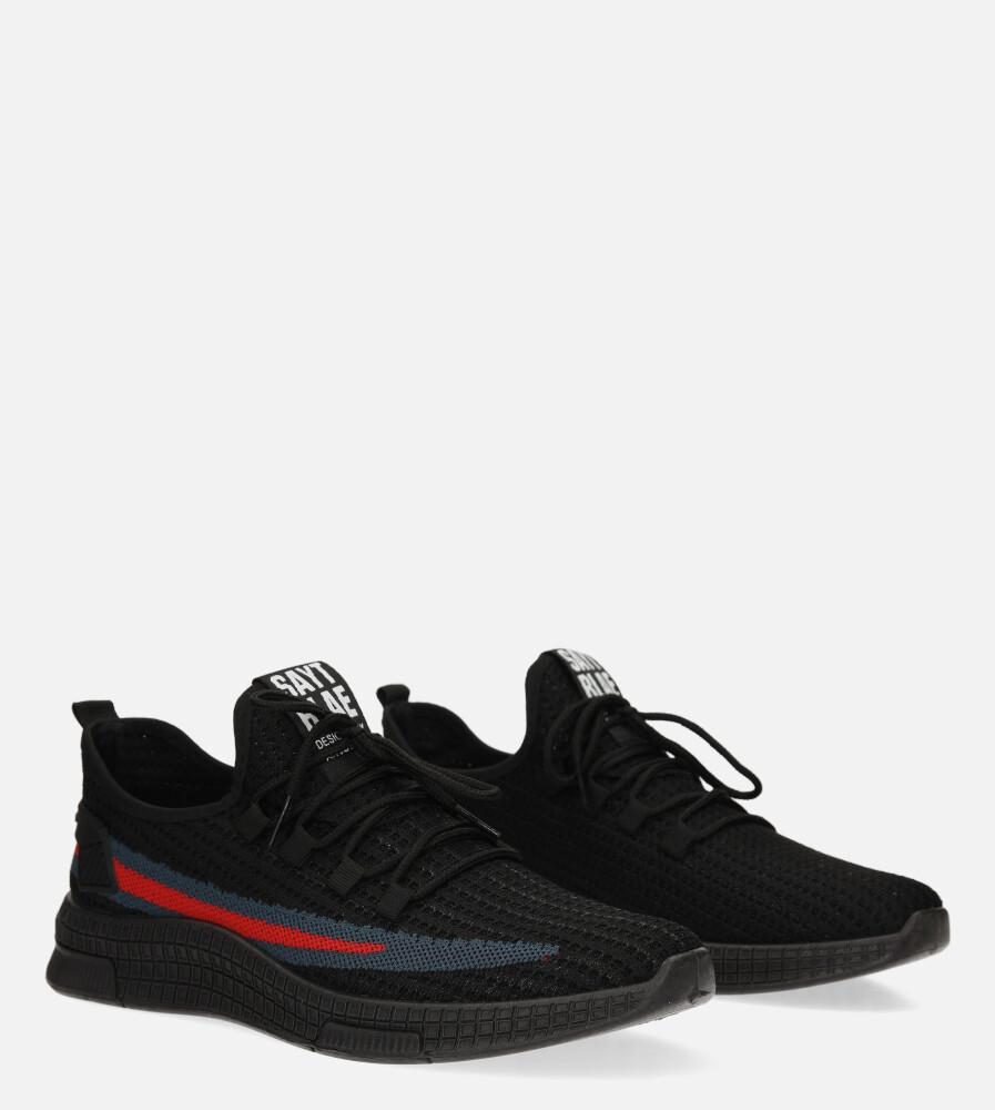 Czarne buty sportowe sznurowane Casu 20F3/B  kolor czarny