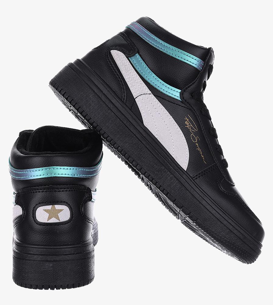 Czarne buty sportowe sznurowane Casu 20X6/M