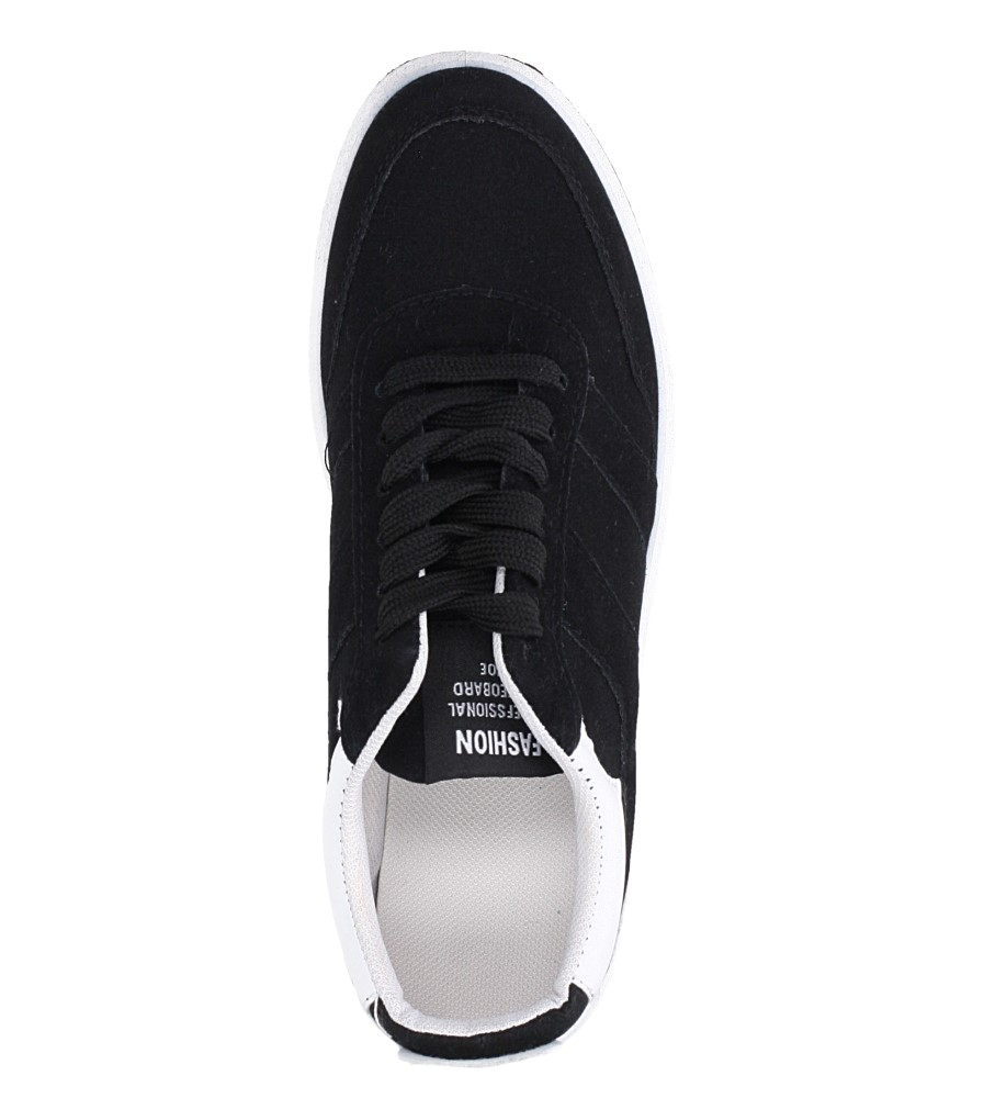 Czarne buty sportowe sznurowane Casu 8305 wys_calkowita_buta 10 cm