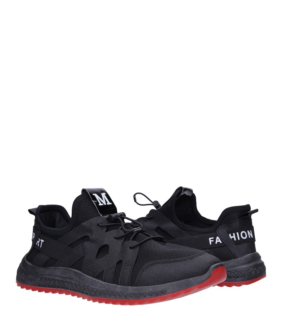 Czarne buty sportowe sznurowane Casu 988 wysokosc_platformy 1 cm