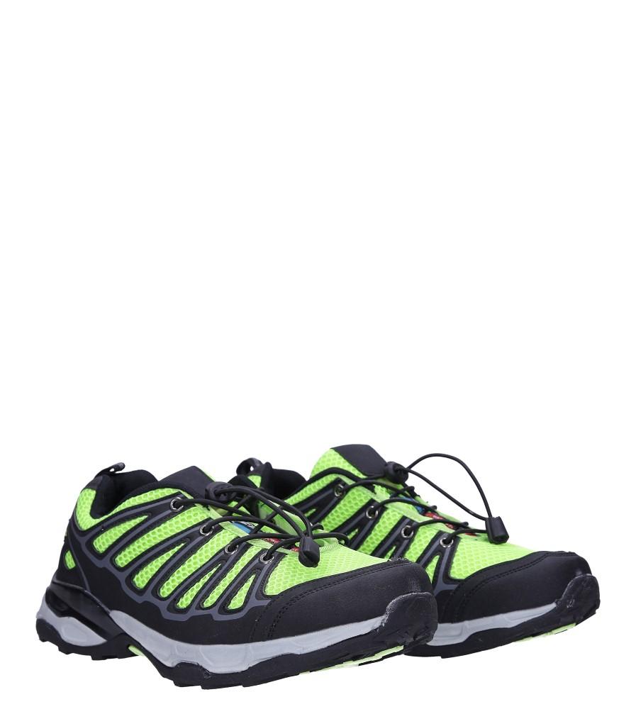 Czarne buty sportowe sznurowane Casu A8702 kolor czarny, seledynowy
