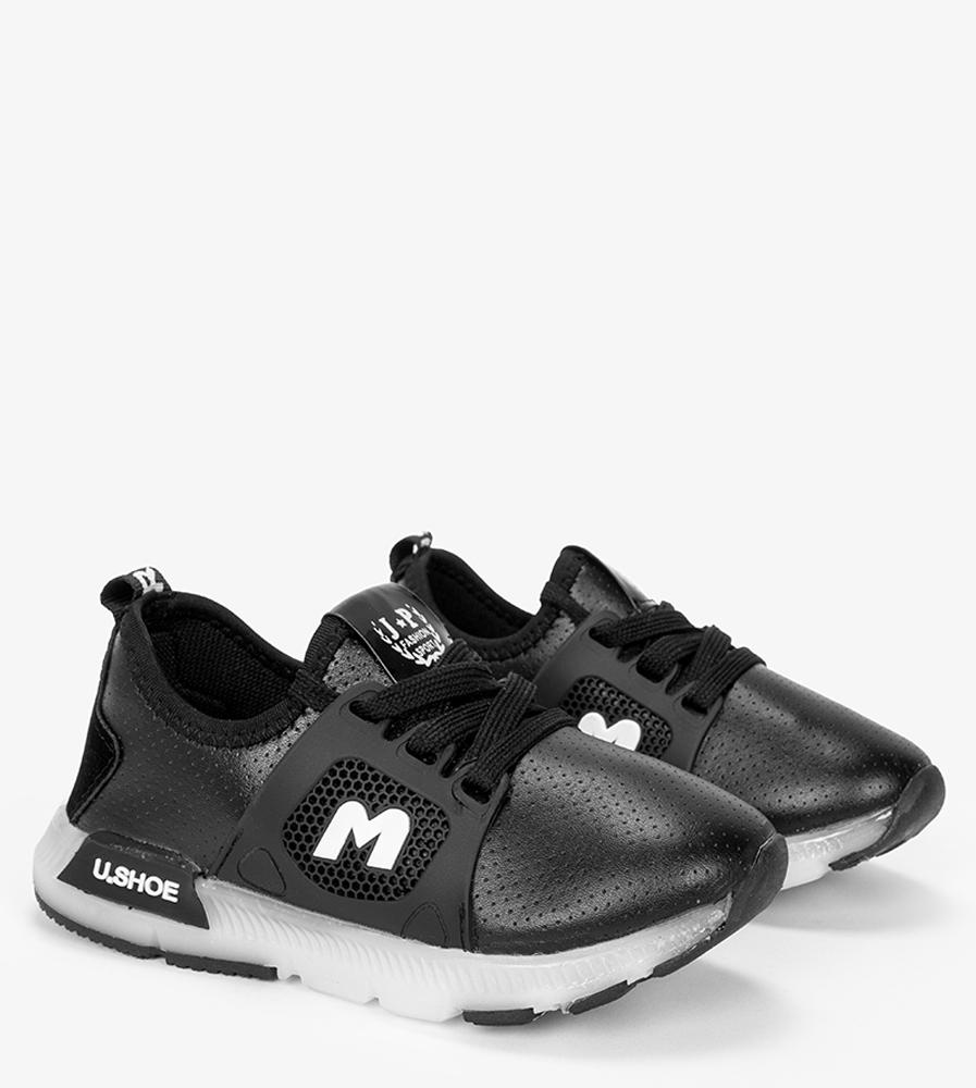 Czarne buty sportowe sznurowane Casu B331 czarny