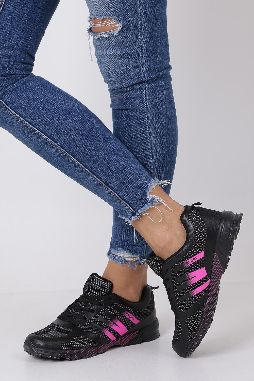 Czarne buty sportowe sznurowane Casu RJ-316-2