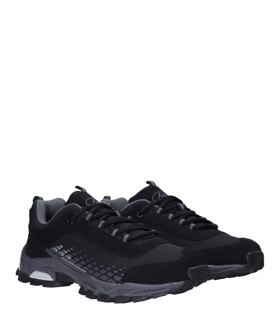 Czarne buty sportowe sznurowane softshell Casu A1809-1 kolor czarny, szary