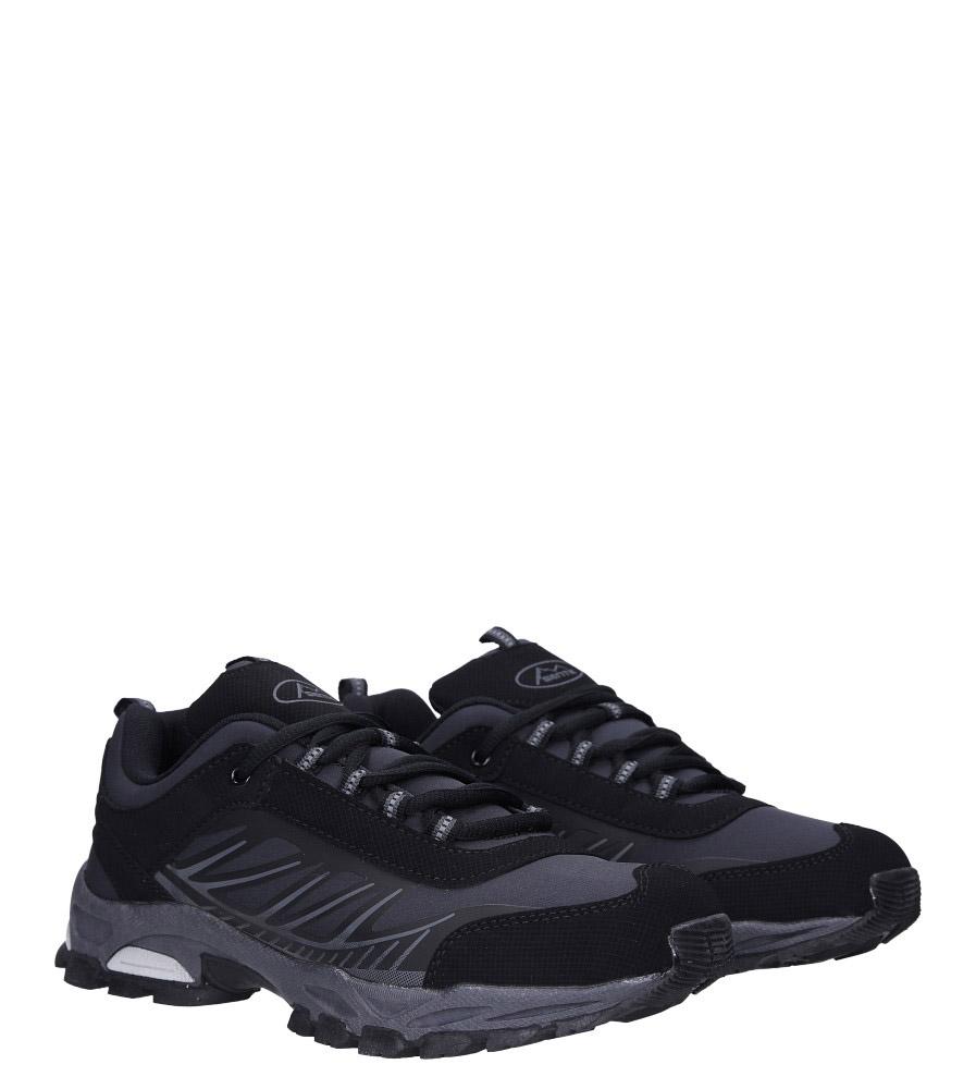 Czarne buty sportowe sznurowane softshell Casu A1810-1 kolor czarny, szary