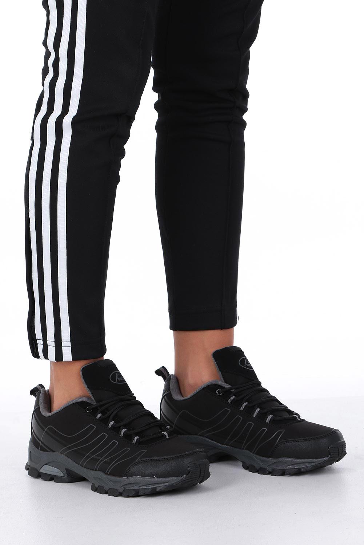 Czarne buty sportowe sznurowane softshell Casu B1531-1 kolor czarny, szary