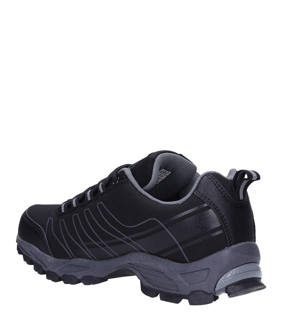Czarne buty sportowe sznurowane softshell Casu B1531-1 wierzch skóra ekologiczna