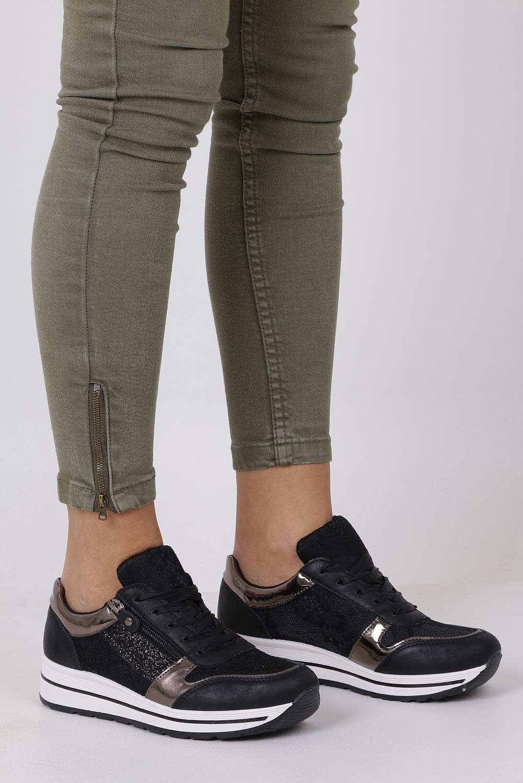 Czarne buty sportowe sznurowane z brokatem i ozdobnym suwakiem Casu GF-ZM97