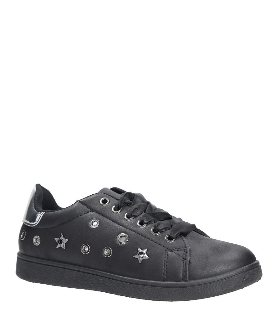 Czarne buty sportowe z nitami sznurowane Casu 8927