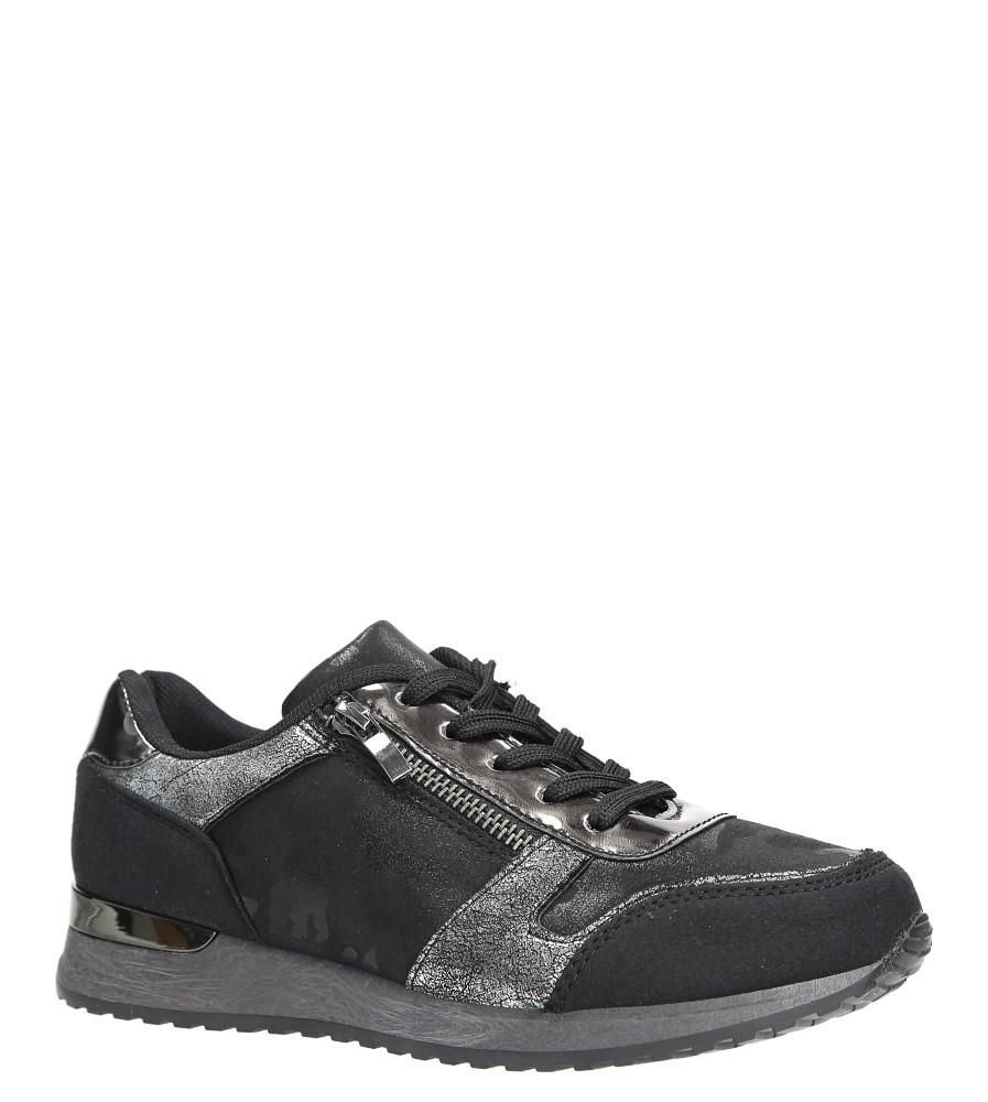 Czarne buty sportowe z ozdobnym suwakiem Casu 6239