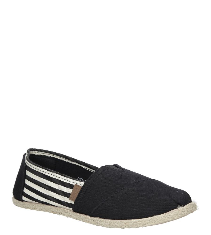 Czarne buty tomsy espadryle w paski Mckey DTN173/17BK
