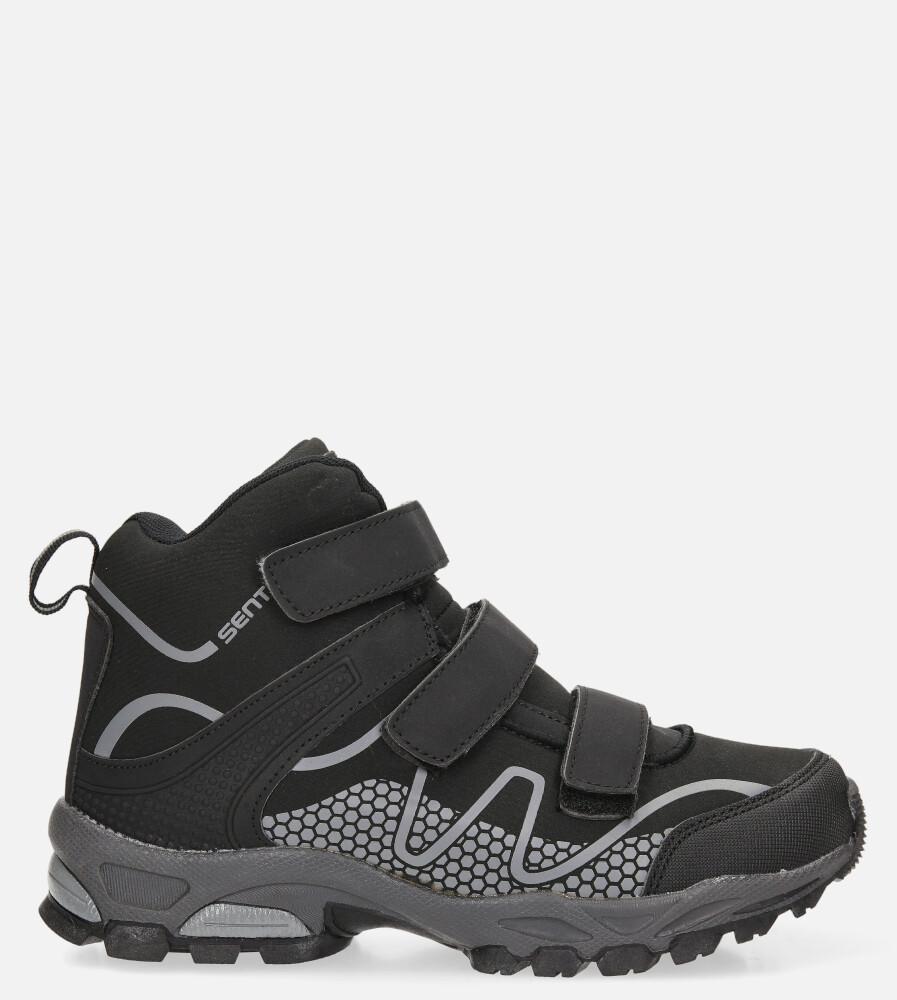 Czarne buty trekkingowe na rzepy softshell Casu A1516B-1