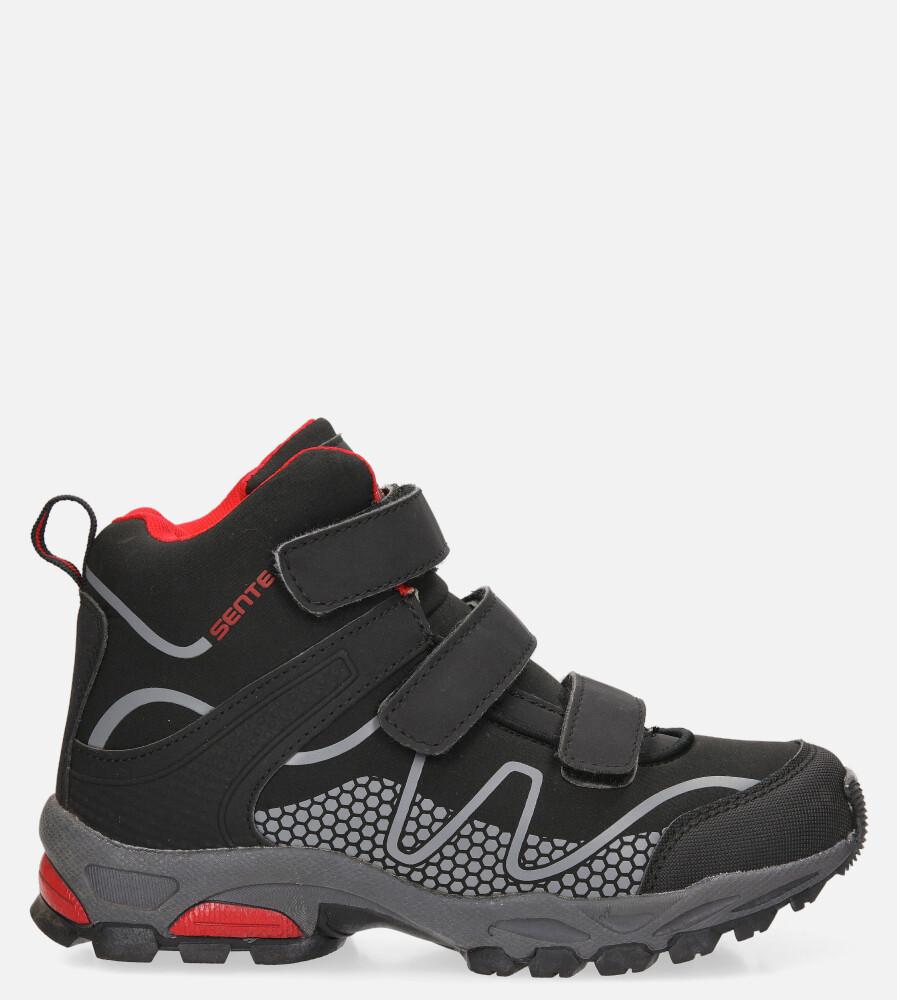 Czarne buty trekkingowe na rzepy softshell Casu A1516B-3