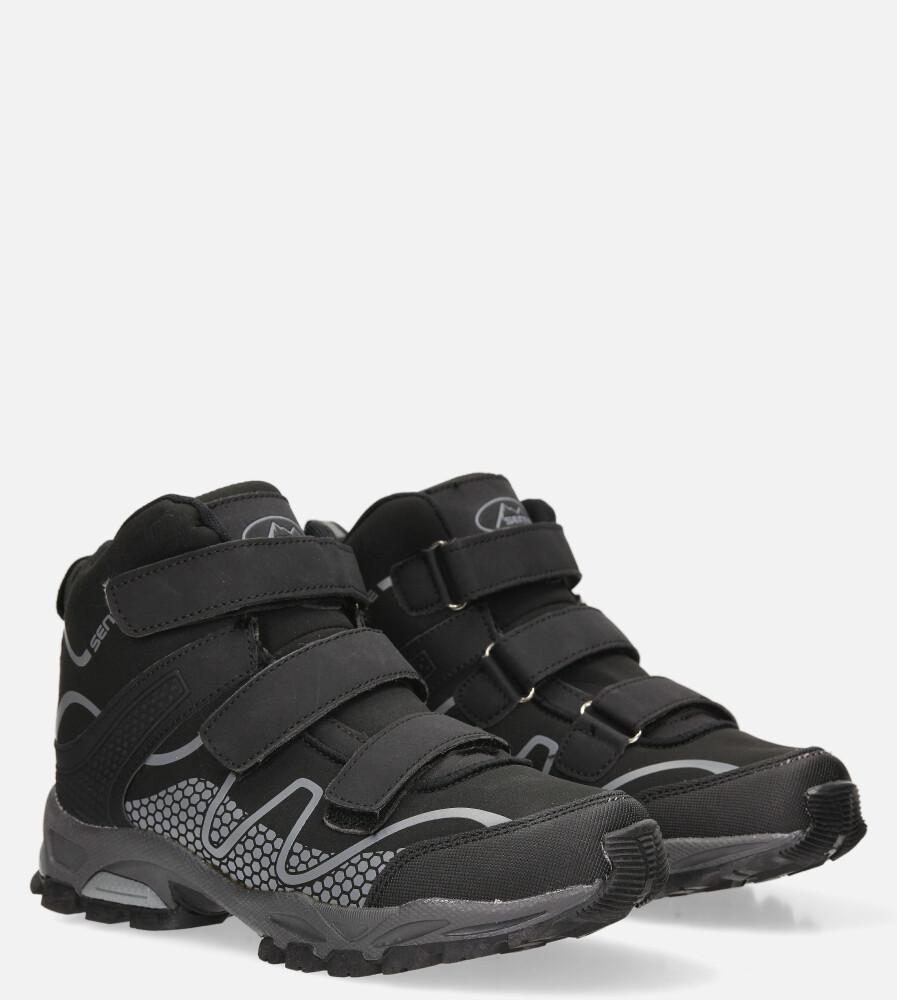 Czarne buty trekkingowe na rzepy softshell Casu B1516B-1
