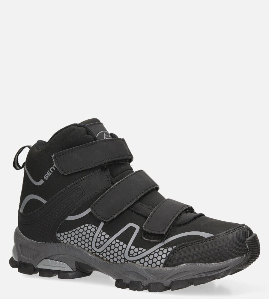 Czarne buty trekkingowe na rzepy softshell Casu B1516B-1 sezon Całoroczny