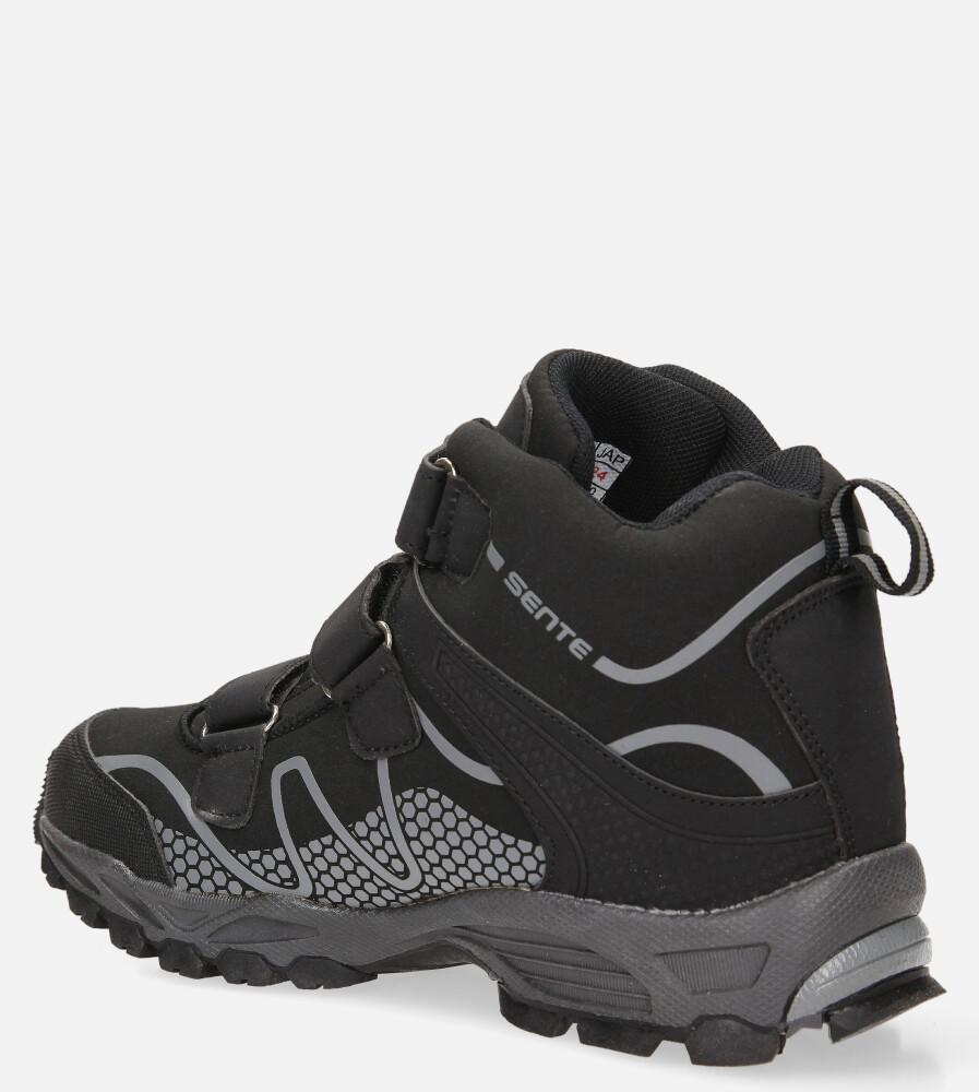 Czarne buty trekkingowe na rzepy softshell Casu B1516B-1 kolor czarny, szary