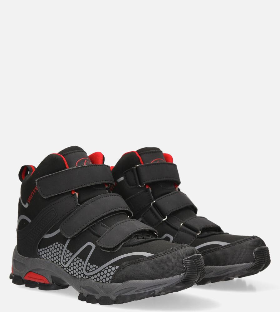 Czarne buty trekkingowe na rzepy softshell Casu B1516B-3