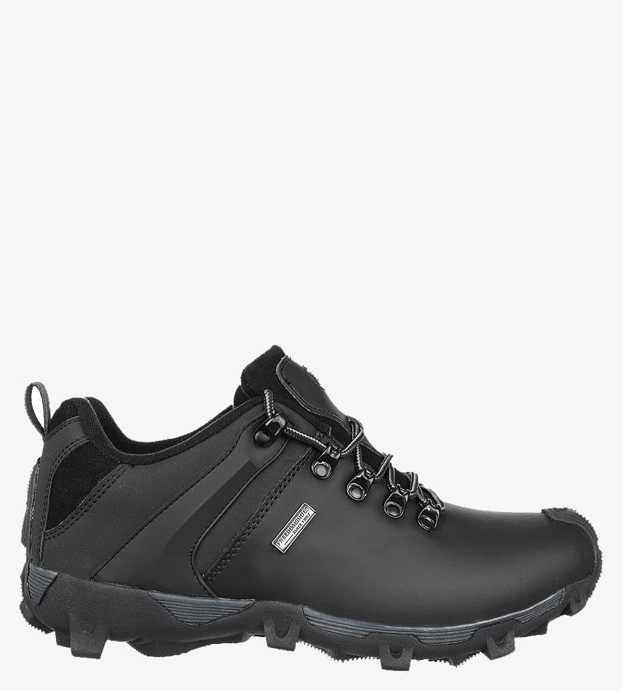 Czarne buty trekkingowe skórzane sznurowane Casu MXC6642-L