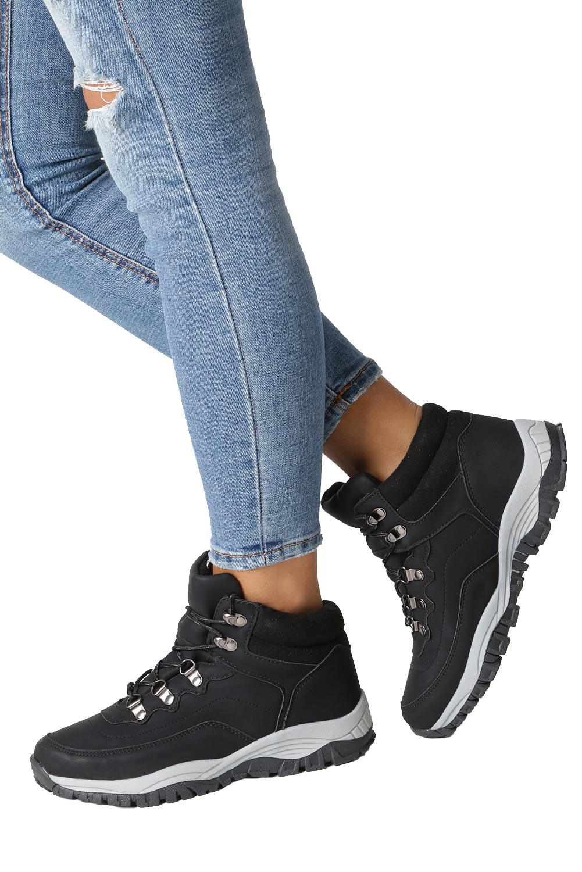 Czarne buty trekkingowe sznurowane Casu 613-1