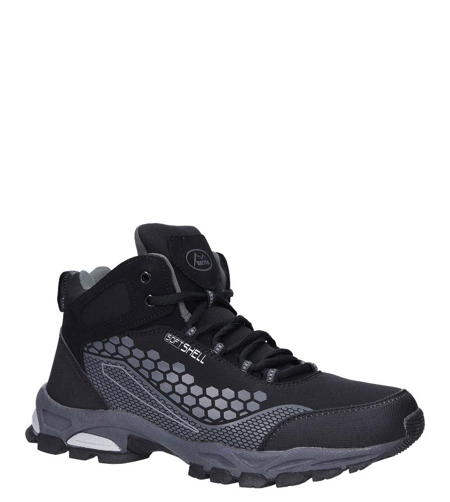 Czarne buty trekkingowe sznurowane softshell Casu A1813-1