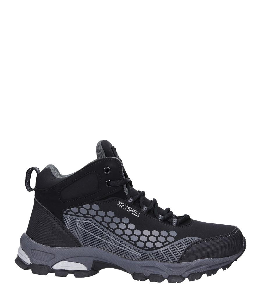 Czarne buty trekkingowe sznurowane softshell Casu A1813-1 model A1813-1