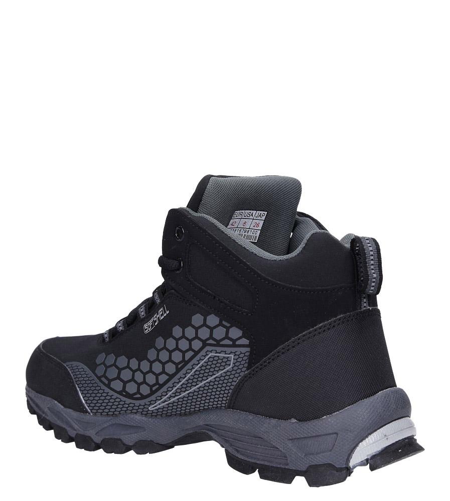 Czarne buty trekkingowe sznurowane softshell Casu A1813-1 sezon Całoroczny