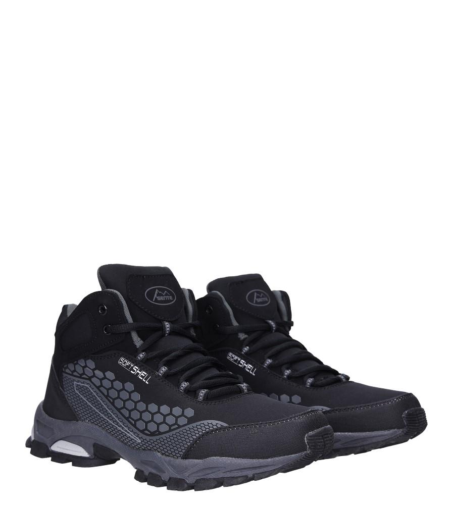 Czarne buty trekkingowe sznurowane softshell Casu A1813-1 kolor czarny, szary