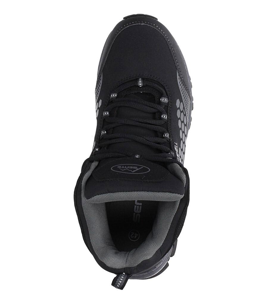 Czarne buty trekkingowe sznurowane softshell Casu A1813-1 wysokosc_platformy 1 cm