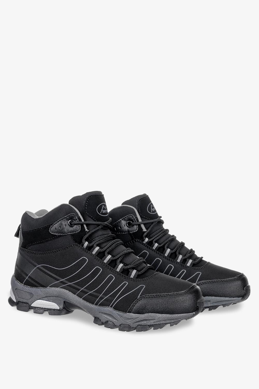 Czarne buty trekkingowe sznurowane softshell Casu B1530-1