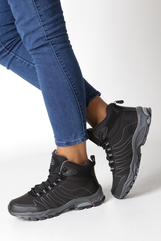 Czarne buty trekkingowe sznurowane softshell Casu B1530-1 model B1530-1