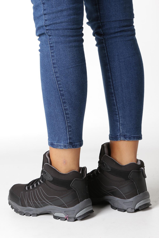 Czarne buty trekkingowe sznurowane softshell Casu B1530-1 sezon Całoroczny