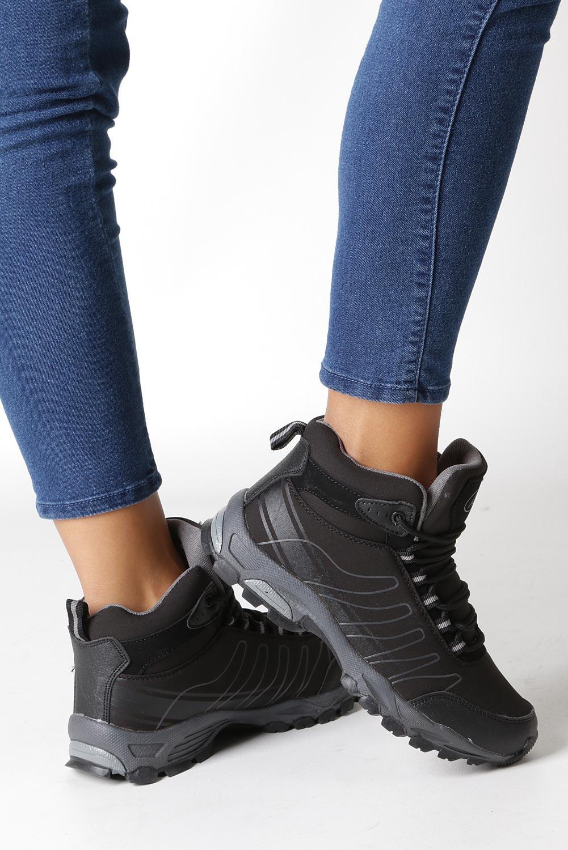Czarne buty trekkingowe sznurowane softshell Casu B1530-1 kolor czarny, szary