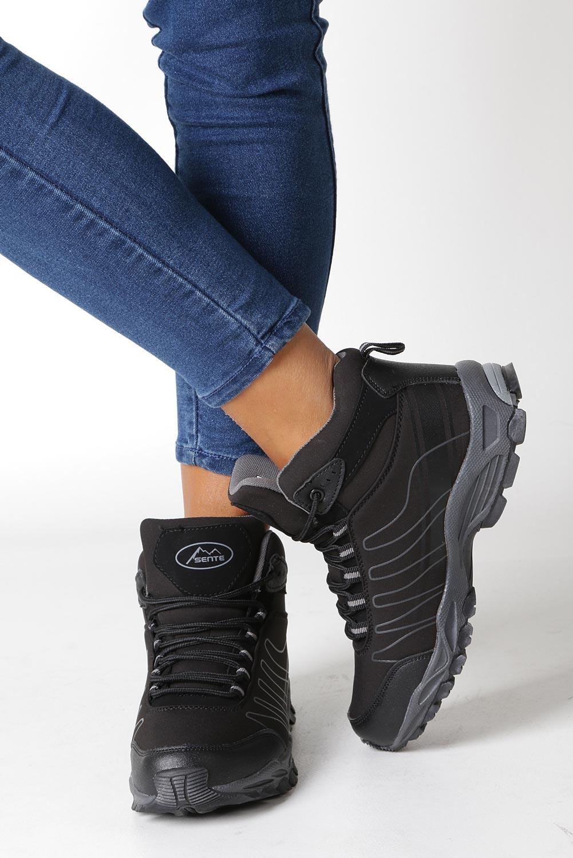 Czarne buty trekkingowe sznurowane softshell Casu B1530-1 wysokosc_platformy 1 cm